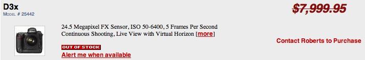 Nikon D3x price drop