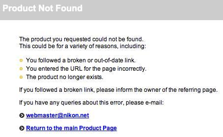 screenshot of the URL to Nikon item #2182