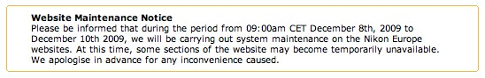 nikon-uk-website-maintenance