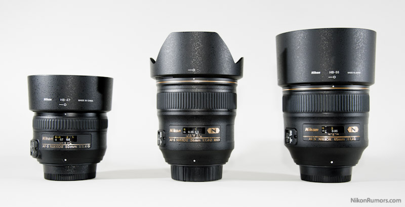 Nikon AF-S 85mm f/1.4G compared to the 50mm and 24mm with hood