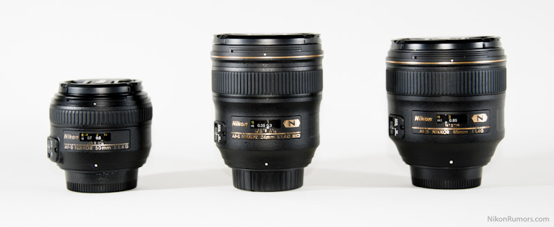 Nikon AF-S 85mm f/1.4G compared to the 50mm and 24mm without hood
