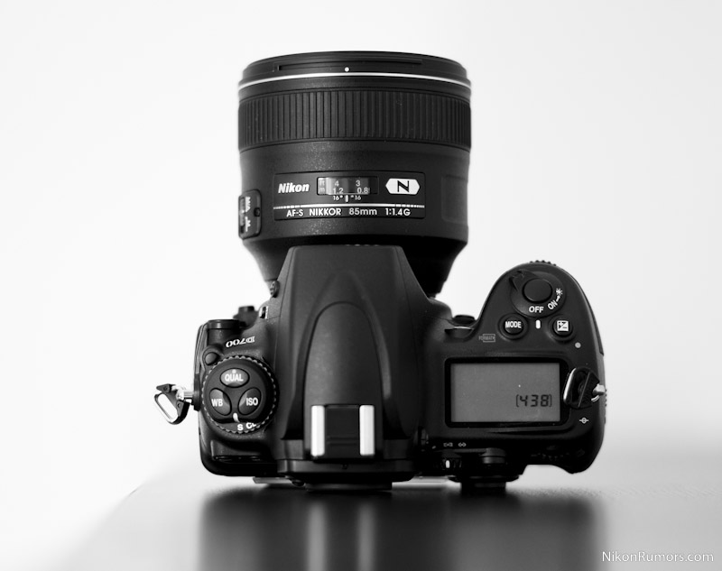 The new 85mm f/1.4 lens attached to a D700