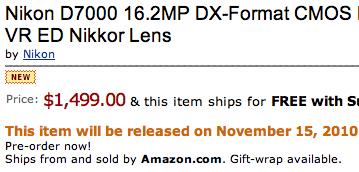 Nikon D7000 Release Date Canada
