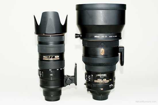 Nikkor 200 f/2 VRII compared to 70-200 f/2.8 VRII (with hoods)