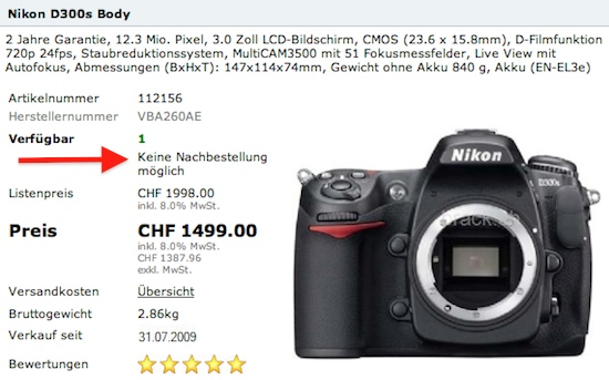 Nikon D300s orders no longer possible in Switzerland - Nikon Rumors