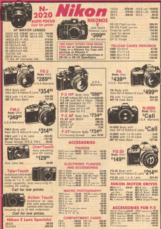 latest price increases here is a nostalgic flashback of nikon prices