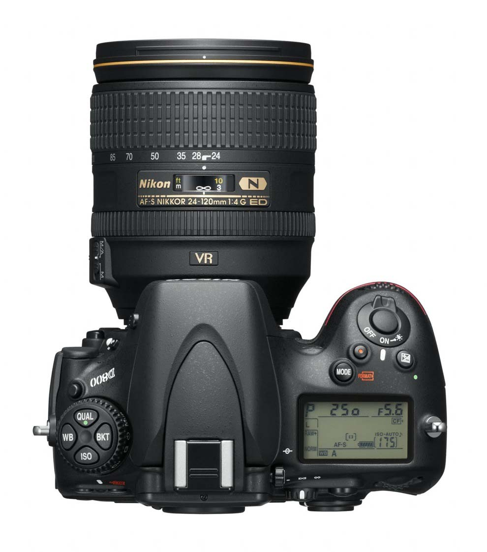 Top view of the Nikon D800