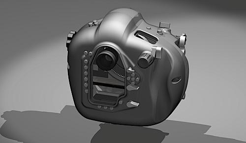 Hugyfot underwater housing prototype for Nikon D4