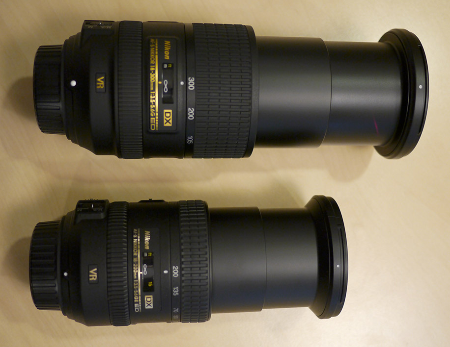 Nikon 18-200mm and 18-300mm DX lenses size comparison