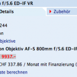 Nikon 800mm f:5.6 lens price