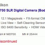 Nikon D700 discontinued
