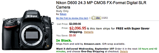 Nikon D600 in stock Nikon D600 now in stock