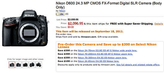 Nikon D600 pre order Amazon Nikon D600 pre order options