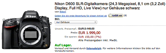 Nikon D600 price drop Amazon Germany Nikon D600 price drop in the UK, Germany
