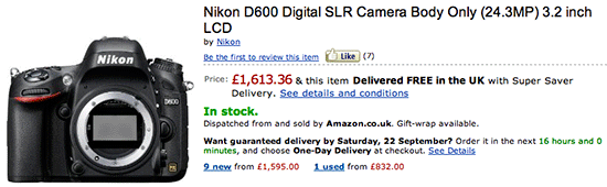 Nikon UK price drop Nikon D600 price drop in the UK, Germany