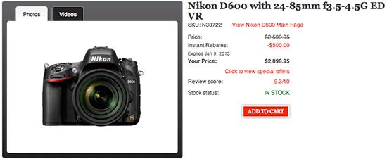 Nikon-D600-discount-Canada