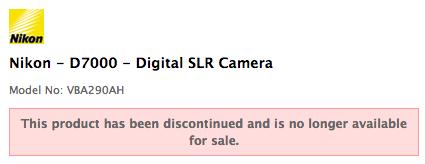 Nikon D7000 discontinued