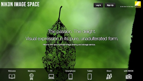 Nikon Image Space website