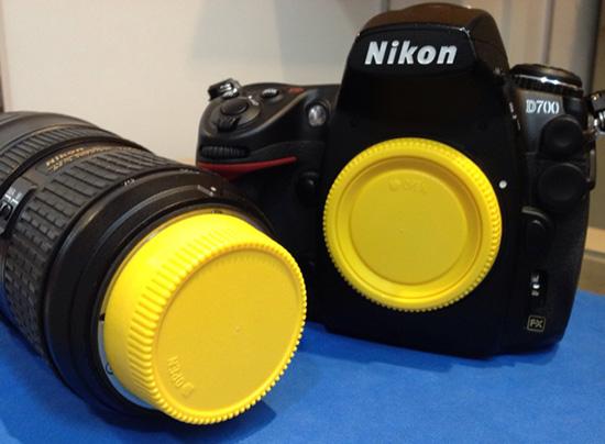 Yellow-Nikon-lens-mount-cap