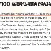 Nikon D7100 flagship DX camera