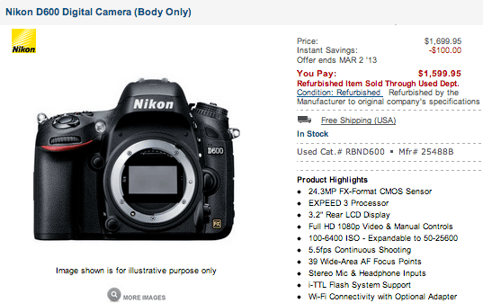 Refurbished-Nikon-D600-camera-price-drop