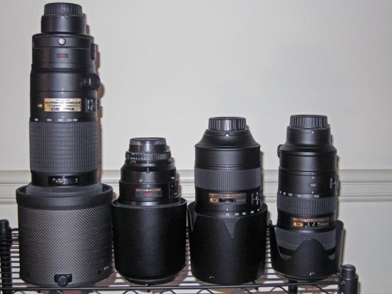 Nikkor tele zoom size comparison