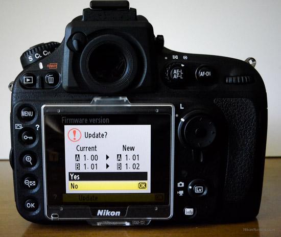 Nikon D800 firmware update