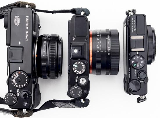 Nikon Coolpix A Sony RX1 Fuji X-Pro1 size comparison