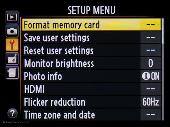 Nikon Coolpix A menu
