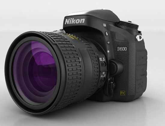 This realistic 3D model of the Nikon D600 camera is entirely computer generated