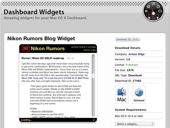 Nikon-Rumors-Dashboard-Widget