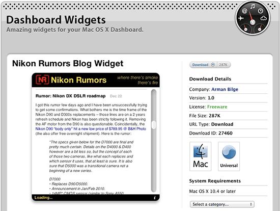 Nikon-Rumors-Dashboard-Widget