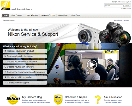 Nikon-USA-support-website