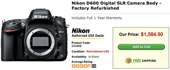 Refurbished-Nikon-D600-price-drop