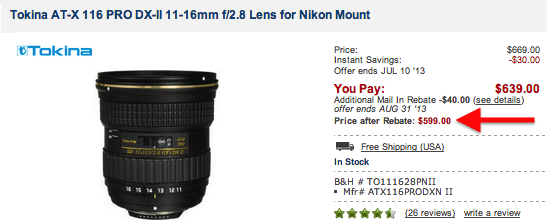 Deal of the day: Tokina AT-X 116 PRO DX-II 11-16mm f/2.8 lens for ...