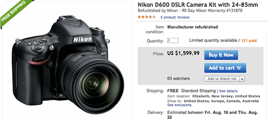 New low price: refurbished Nikon D600 with 24-85mm lens for