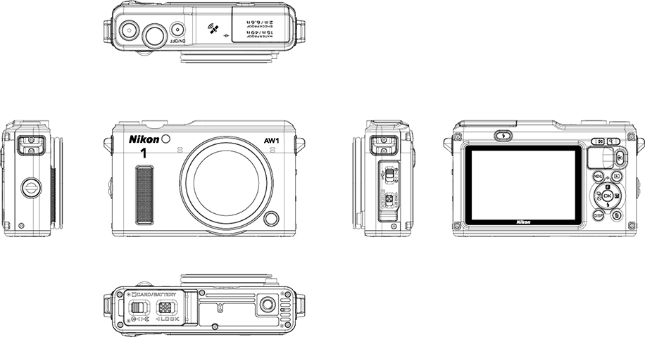 Nikon 1 AW1 Camera Design Drawing