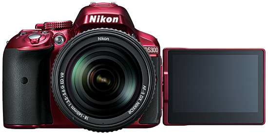 Nikon-D5300-camera-LCD-screen-red