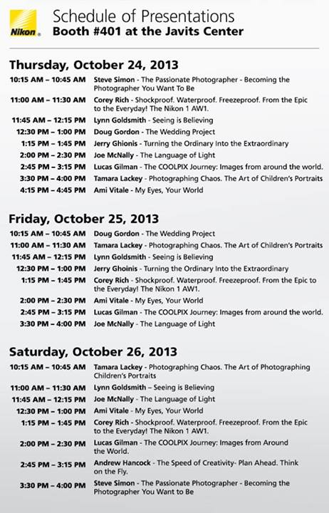 Nikon schedule of presentations at the 2013 PDN Photo Plus Expo
