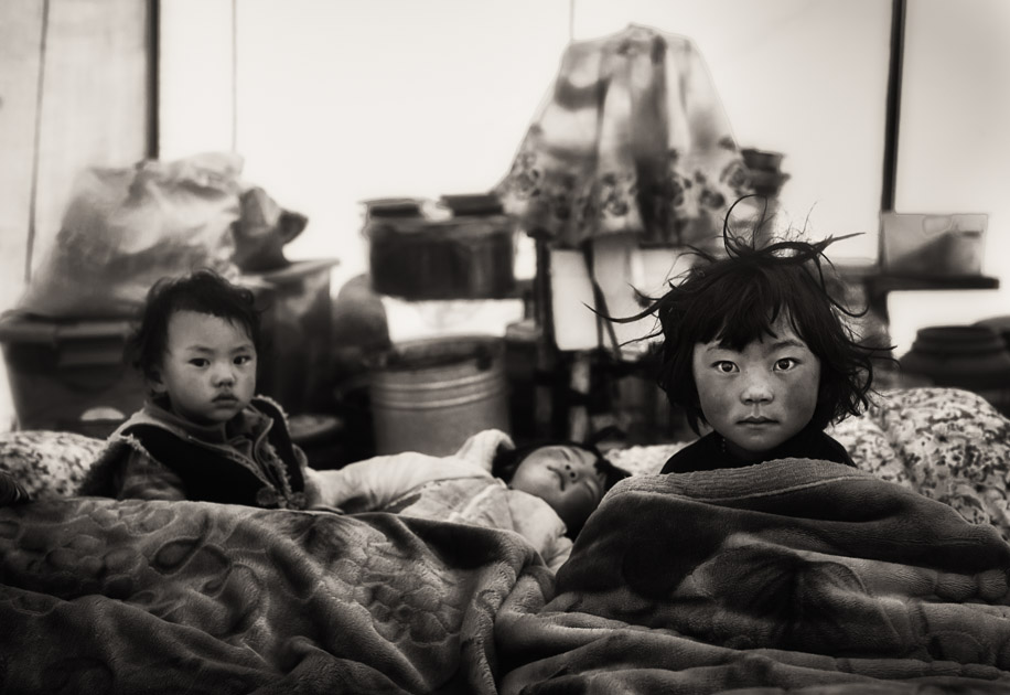 Tibetan kids waking up in the morning. Tibetan plateau
