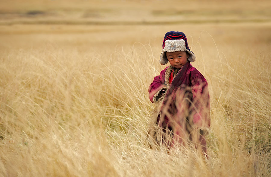 A tibetan kid from a nomad family on the grasslands of the Tibetan plateau