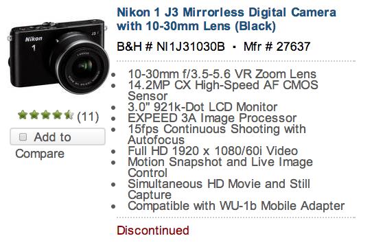 Nikon 1 J3 camera discontinued