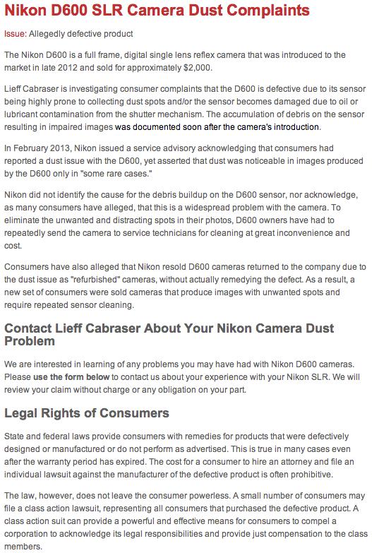 Nikon-D600-dust-issue-class-action-lawsuit