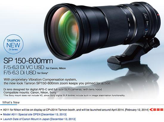 Tamron-SP-150-600mm-f5-6.3-Di-VC-USD-lens-shipping-date
