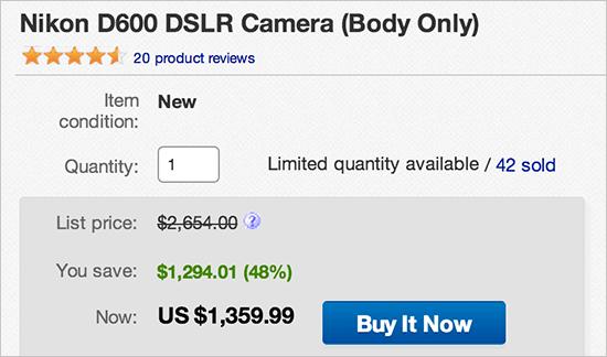 New grey market Nikon D600 cameras (no US warranty) are currently