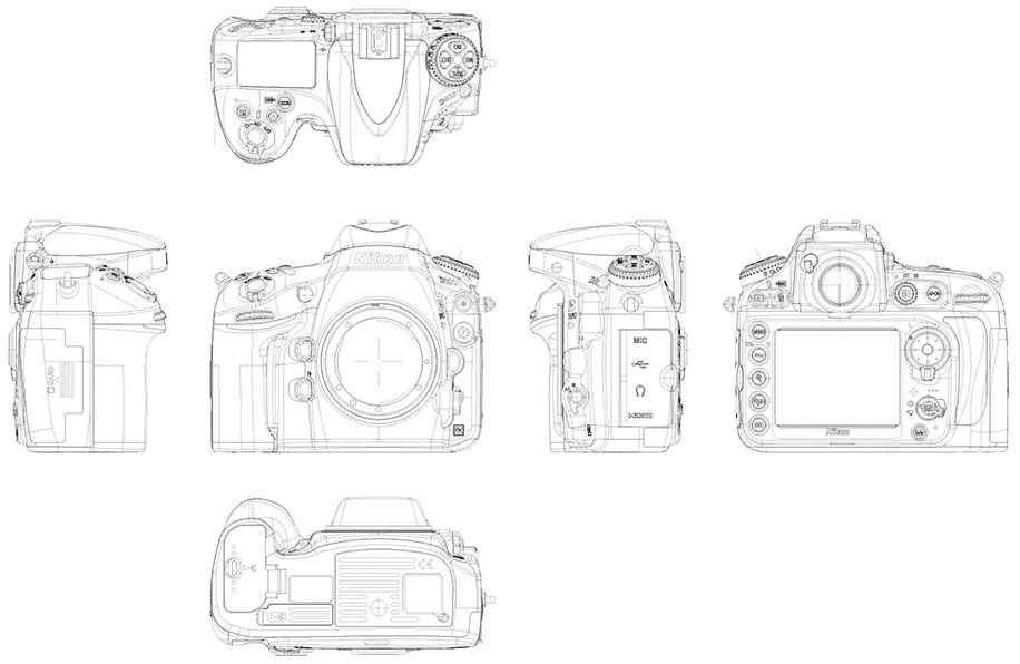 Nikon D800 Camera Drawing