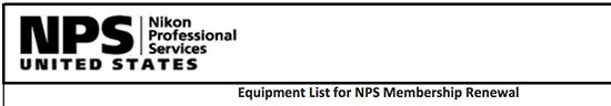 Nikon-USA-NPS-qualifying-equipment-list