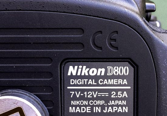 Nikon D800 camera made in Japan