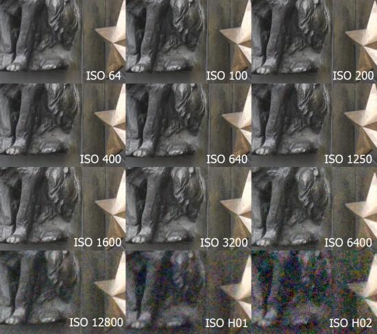 Nikon D810 ISO test crop comparsion