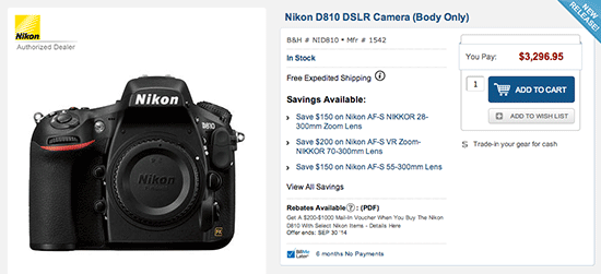 Nikon D810 camera currently in stock at B&H | Nikon Rumors